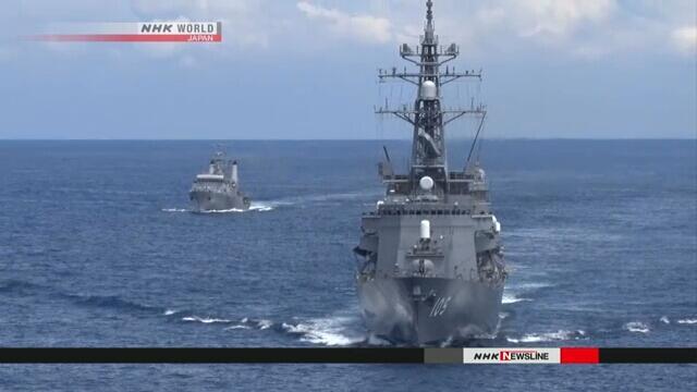 """日海自最大护卫舰""""加贺""""号首次在印度洋举行联合训练"""