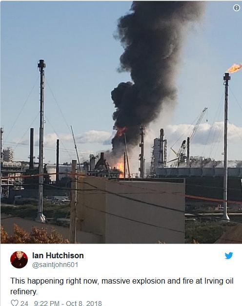 加拿大最大的炼油厂发生剧烈爆炸,现场黑烟滚滚(视频)
