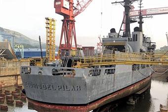 南沙搁浅菲律宾军舰船厂维修照曝光 螺旋桨脱落