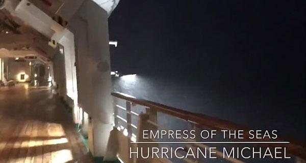 """飓风""""迈克尔""""10日登陆美国 海上邮轮剧烈摇晃"""