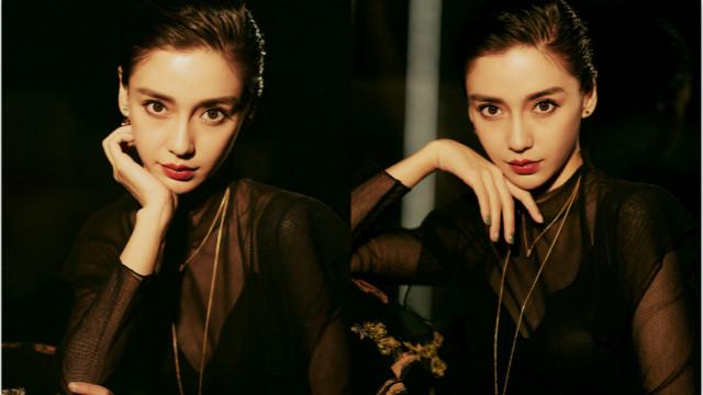 Angelababy穿黑色透视裙 妆容精致眼神撩人
