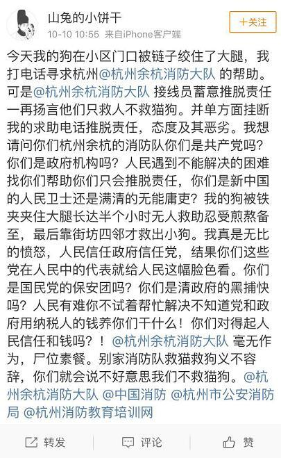 """消防称""""只救人不救猫狗""""被当事人质疑""""无作为"""" 中国消防:应急救援资源有限"""