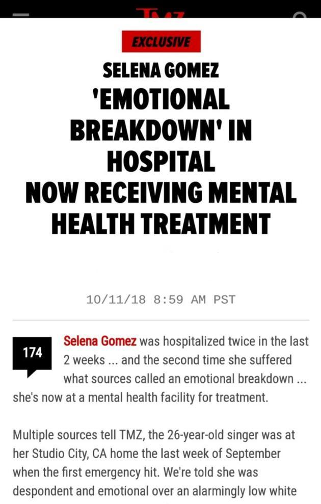 曝赛琳娜精神崩溃住院治疗 患白细胞减少并发症