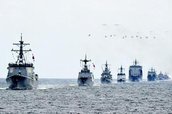 韩国举行大型国际阅舰式 美航母俄巡洋舰参加