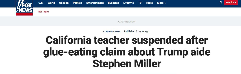 教师爆料特朗普高级顾问小时候爱吃胶水 遭学校停职