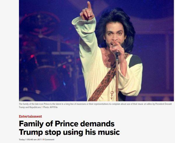 """美国传奇歌手""""王子""""的家人喊话特朗普:请别再使用他的音乐"""