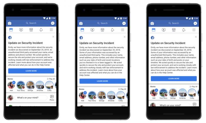 Facebook表示2900万人信息被黑客窃取