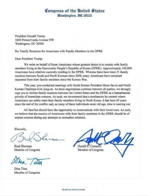 """美议员致信特朗普 望将朝美离散家属问题纳入第二次""""金特会""""议题"""