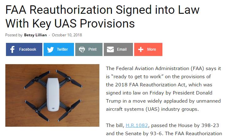 FAA再授权法案获通过 推动无人机融入空域