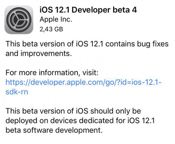 苹果推送iOS 12.1的第4个开辟者测试版