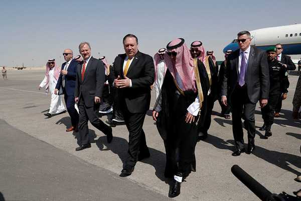 美国务卿蓬佩奥抵达沙特访问 将与沙特国王萨尔曼会面