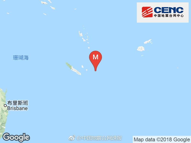 洛亚蒂群岛东南发生6.5级地震 震源深度10千米
