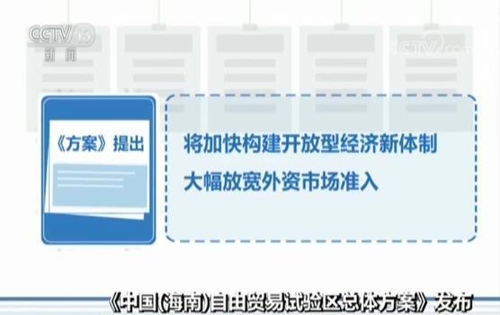 《中国(海南)自由贸易试验区总体方案》发布 多个领域将大幅放宽外资准入