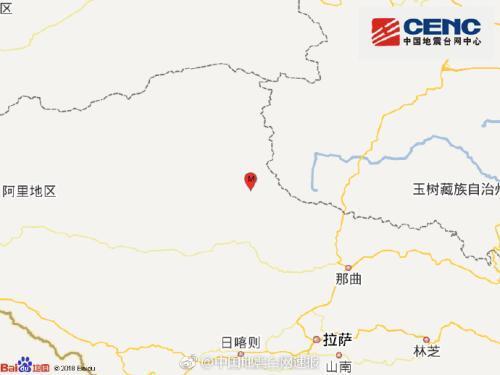西藏那曲市双湖县发生4.8级地震 震源深度18千米