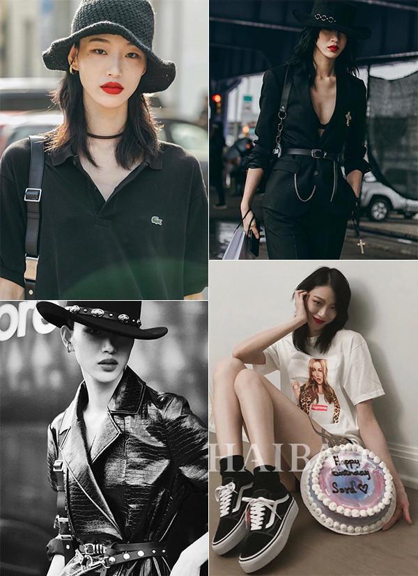 哥特风韩国超模Sora Cho i街拍里暗黑、生活中少女
