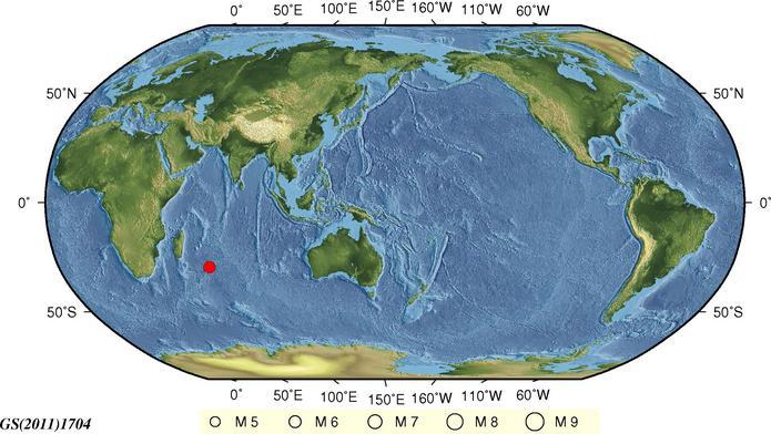 10月21日9时40分西南印度洋海岭发生5.9级地震