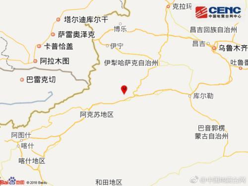 新疆阿克苏拜城县发生3.3级地震 震源深度22千米