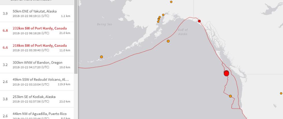 加拿大温哥华以西海域连发两次强震 分别为6.7和6.8级