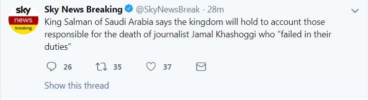 """沙特国王:将追究""""失职""""导致记者哈苏吉死亡的相关人员责任"""