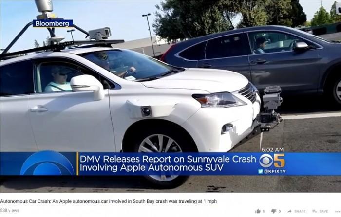 苹果自动驾驶测试车遭遇了第二起交通事故