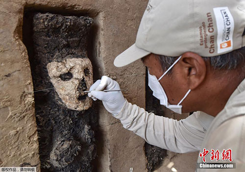 秘鲁昌昌古城出土20个木雕 可追溯至公元1200-1350年