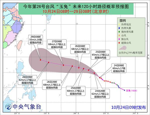 """台风""""玉兔""""加强为超强台风,风力最强可达17级或以上"""