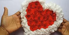 卫生纸做心形玫瑰花墙挂