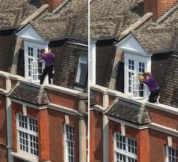 """""""蜘蛛侠""""现身!英窗户清洁工无护具高空作业"""