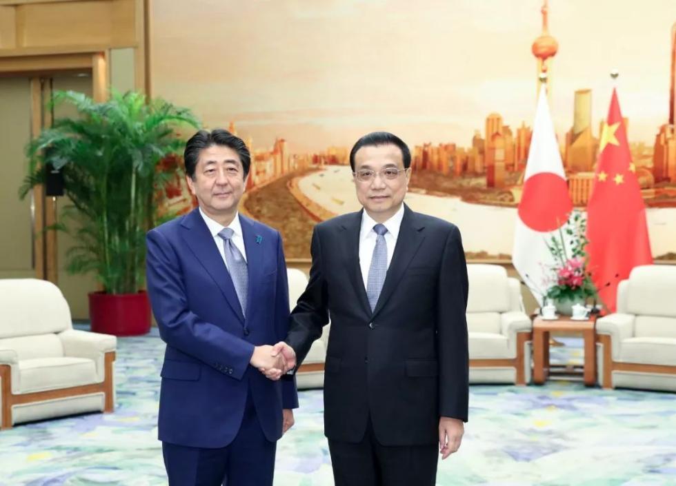 李克强与日本首相安倍晋三共同出席纪念中日和平友好条约缔结40周年招待会并致辞