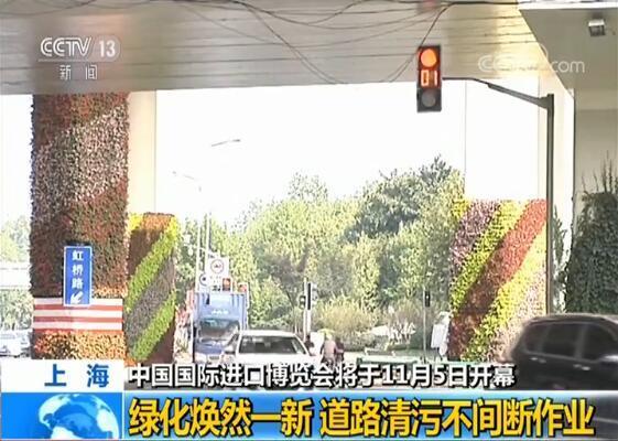【中国国际进口博览会即将开幕】上海绿化焕然一新 道路清污不间断作业