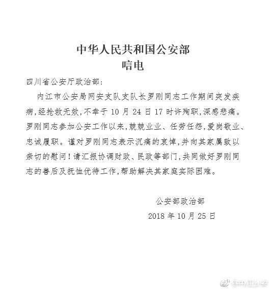公安部发唁电:沉痛哀悼罗刚同志,向家属致以亲切慰问