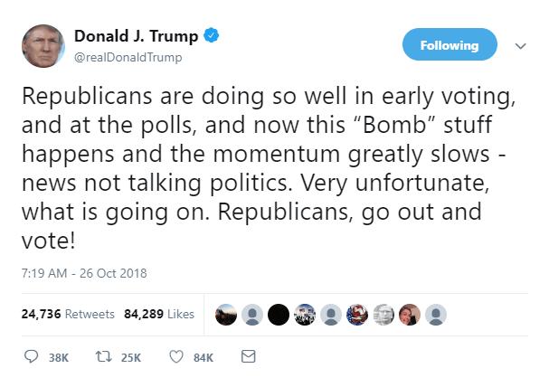 """特朗普:炸弹包裹案是""""恐怖行动"""",必须从严处罚"""