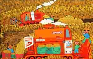 22位农民画家联手描绘表达改革开放40年长卷