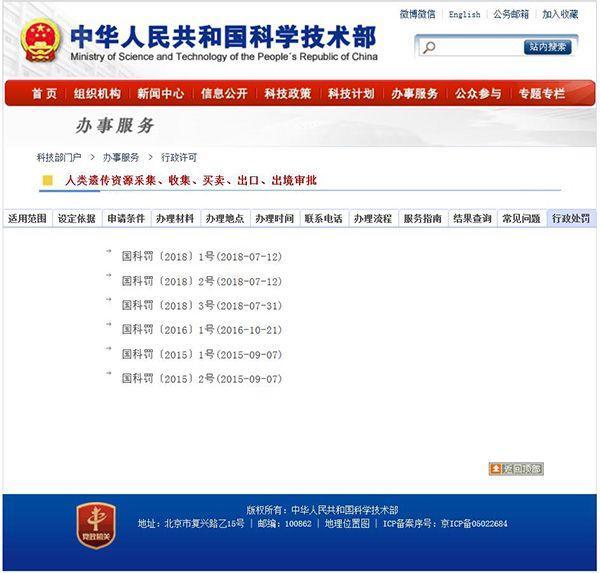 科技部:华大基因等六单位违反中国人类遗传资源管理规定被罚