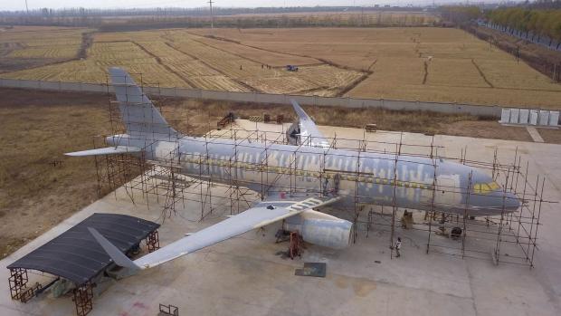 中国农民打造空客A320模型飞机 花费约105万元
