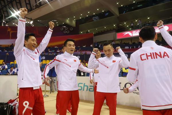 给力!中国体操队重夺男团世界冠军