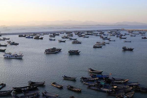 """福建:渔船回港 防范台风""""玉兔"""""""