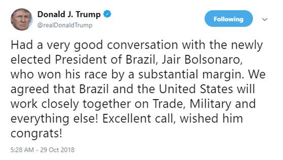 """美总统特朗普承诺与""""巴西特朗普""""在军事和贸易等方面合作"""