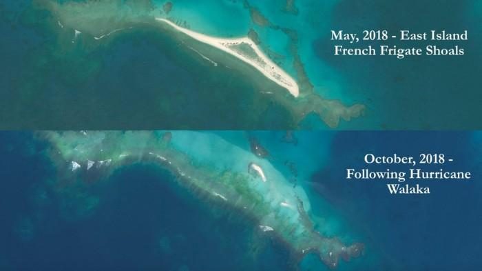 """飓风瓦拉卡直接""""吹走""""了夏威夷的一座岛屿"""