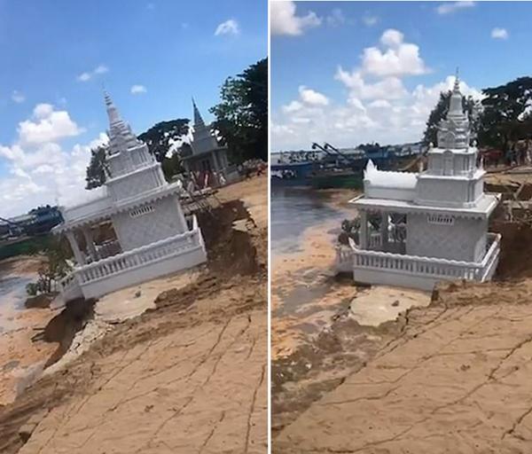 柬埔寨大雨致湄公河岸边一佛塔被冲入水中