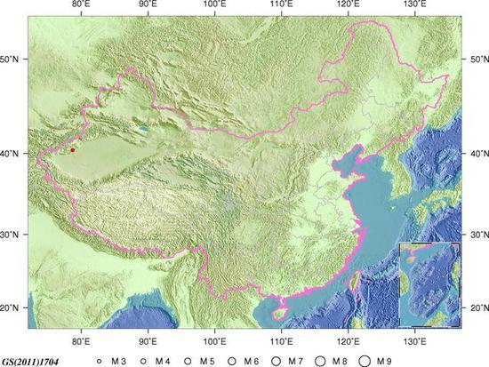 新疆柯坪县发生3.0级地震 震源深度12千米