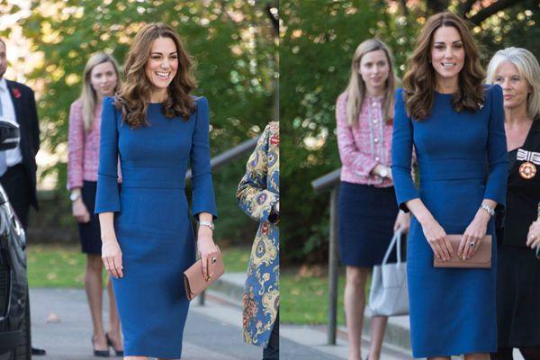 凯特王妃参观帝国战争博物馆 身着深蓝色连衣裙气质优雅
