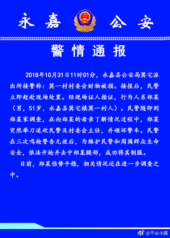 浙江省温州永嘉一村民追砍民警并砸坏警车 被制服
