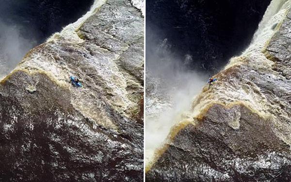 德皮划艇运动员从33米高瀑布俯冲而下毫发无损