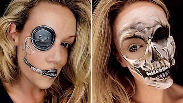 惊悚!美女化妆师打造精致恐怖万圣节妆容