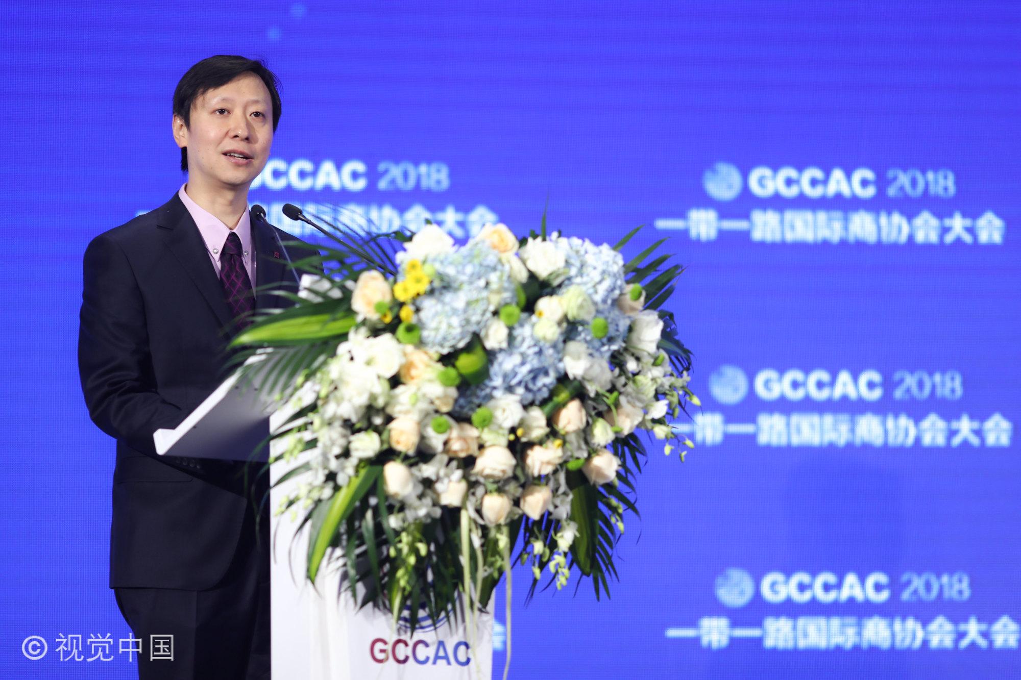 环球时报副总编辑谢戎彬在一带一路国际商协会大会上致辞(图)
