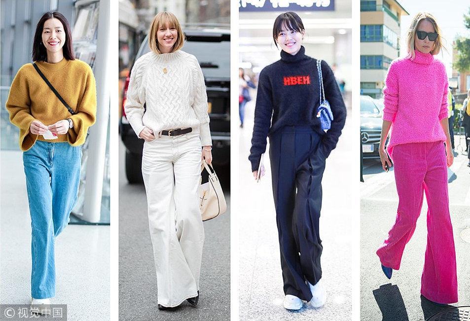 高领毛衣+阔腿裤做高冷的时髦精