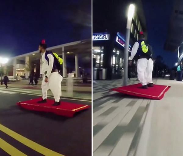 """滑板新玩法!美大学生穿阿拉丁服踩""""魔毯""""街头穿梭"""