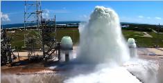壮观的NASA发射台喷水灭火系统