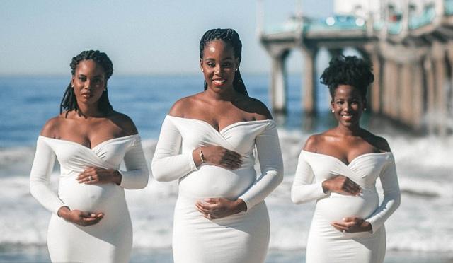 国外仨姐妹同时怀孕 组团拍孕照温馨美好